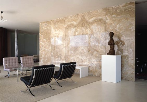 A beautiful contrast of form texture and color photo interior onyx wall tugendhat house - Home interior wall color contrast ...