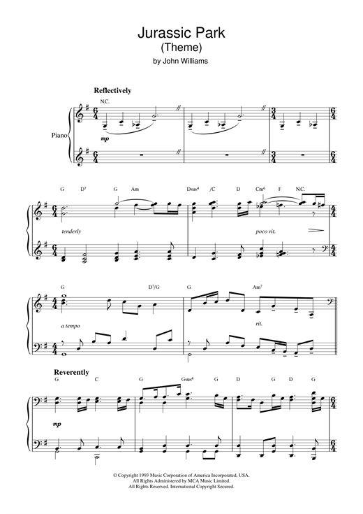 John Williams: Theme from Jurassic Park - sheet music piano