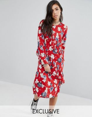 Milk It Midi Dress With Frills In Floral: