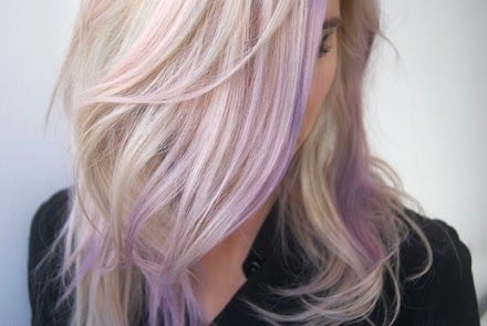 Step 1: Gorgeous, natural blonde hair with highlights that transitions into a lavender and then deep purple through the tips.