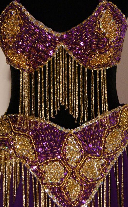 Kompleet 7-delig pailletten-kostuum paars goud | Dames buikdanskostuums | buikdanswinkel-webshop