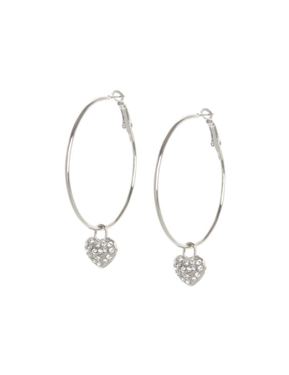 Hoop earrings with heart charms by Lane Bryant - Found on HeartThis.com @HeartThis   See item http://www.heartthis.com/product/401794537263945744?cid=pinterest