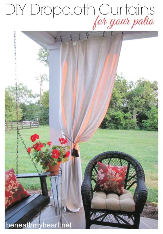 Do you need some shade on your back patio?  Try these easy DIY drop cloth curtains!: