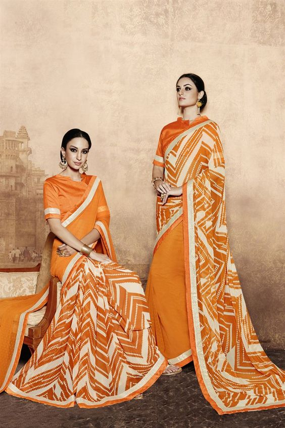 Online Shopping of Glorious Orange Color Printed Party Wear Saree from…