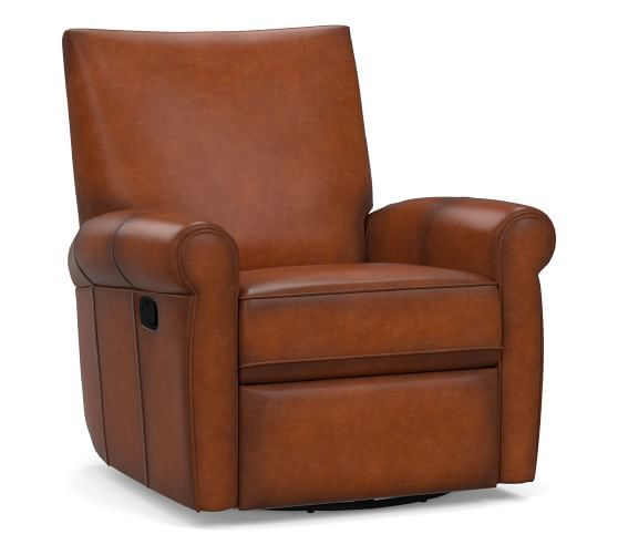 Grayson Leather Swivel Recliner Polyester Wrapped Cushions