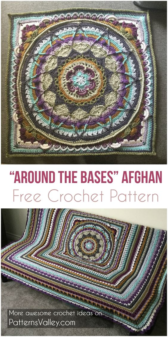 Around the Bases Afghan [Free Crochet Afghan Pattern] #crochet #freepattern #crochetpattern #motif #freecrochetpatterns #AroundtheBases
