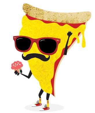 Image result for cartoon pizza slice with glasses