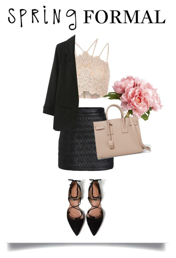"""""""Spring worker"""" by nancynan ❤ liked on Polyvore featuring River Island, Zara and Yves Saint Laurent"""