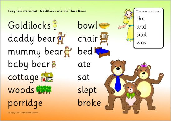 Goldilocks and the Three Bears word mat (SB5183) - SparkleBox