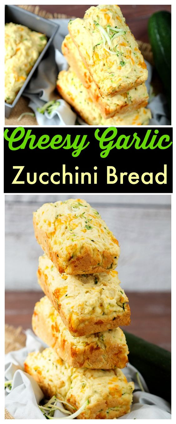 Delicious homemade fresh zucchini bread with cheddar cheese and garlic ...