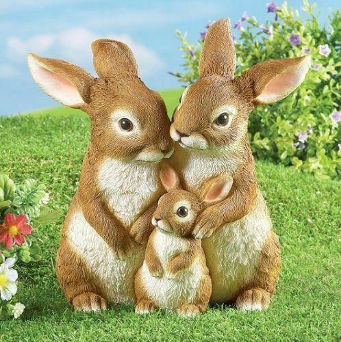 Outdoor EASTER BUNNY RABBIT MOM BABY GARDEN STATUE SCULPTURE Love Kiss Spring