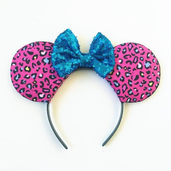 Leopard Print Mickey Ears, Animal Kingdom Disney Inspired Ears, Animal... ($30) ❤ liked on Polyvore featuring accessories