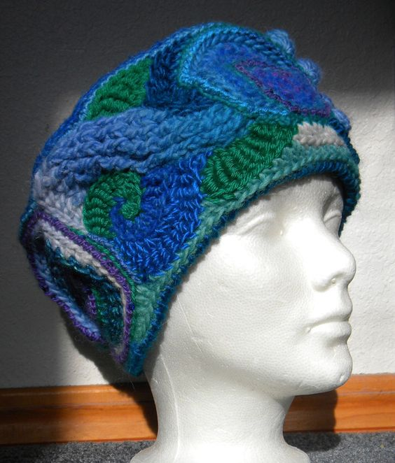 Freeform flat top winter hat by No2AlikeCrochet on Etsy https://www.etsy.com/listing/259594678/freeform-flat-top-winter-hat