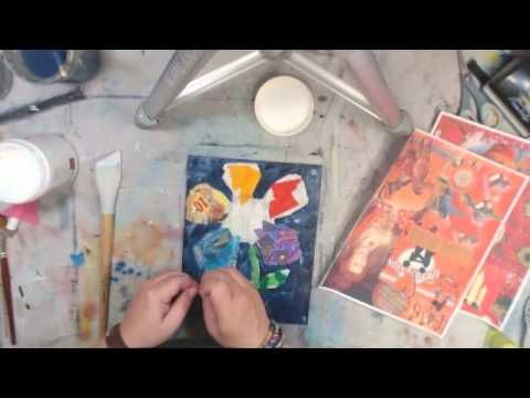I created this colorful canvas today using the August 2014 Society 11 collage sheets by Tangie Baxter.  It was so much fun!  Here's a fast forward video of the process!  mixed media, art journal, collage, canvas, video tutorial  color the world