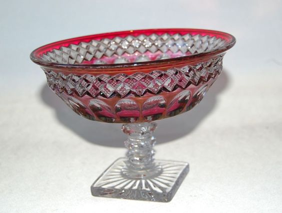 "Westmoreland Glass Waterford Crystal Ruby Stain Bell Rim Compote 7"" Footed #Westmoreland #waterford"