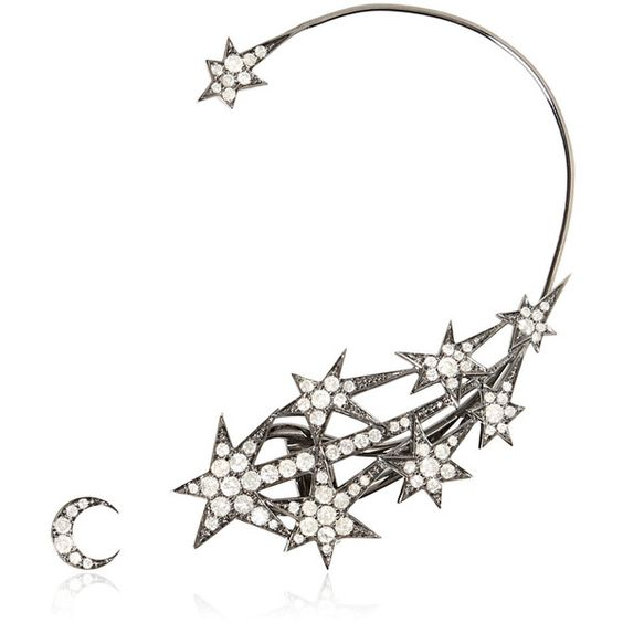 Runa Jewellery Women Star Ear Cuff & Moon Stud (82 095 ZAR) ❤ liked on Polyvore featuring jewelry, earrings, star stud earrings, star ear cuff, white gold jewelry, ear cuff jewelry and ear cuff earrings