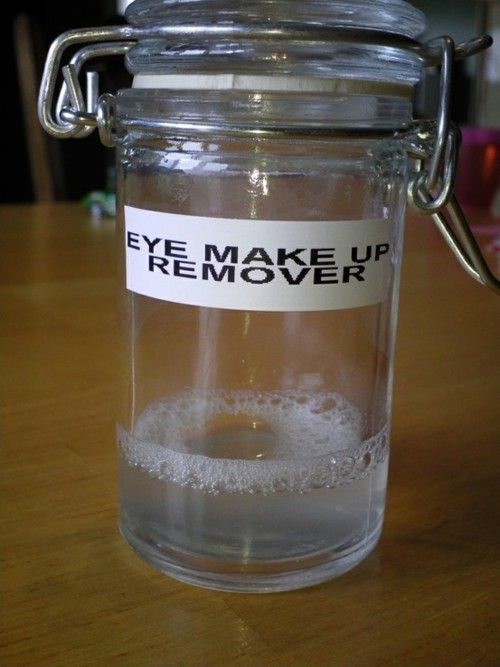 DIY Eye Make Up Remover: 1 cup water, 1 1/2 tablespoons Tear Free Baby Shampoo, 1/8 teaspoon Baby Oil Directions: Add all ingredients into a small bowl and stir. Shake before every use. Cost: Less than 0.50 cents