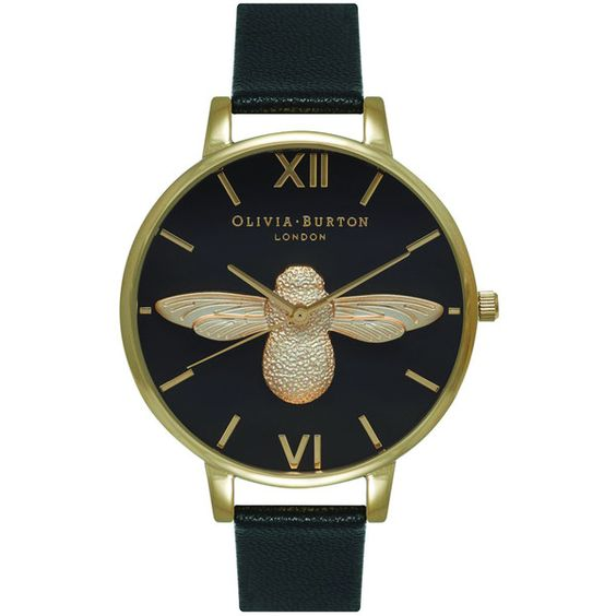 Olivia Burton Moulded Bee Black Dial Watch Black & Gold ($195) ❤ liked on Polyvore featuring jewelry, watches, bee jewelry, yellow gold jewelry, gold wristwatches, gold bee jewelry and olivia burton watches
