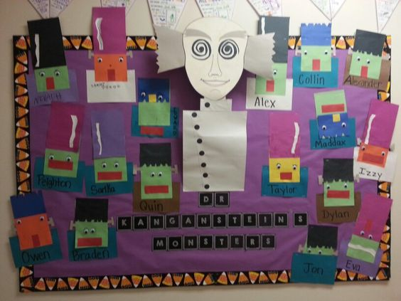 "My Halloween Board this year. (2013) Our class is the Kangaroos, so it says ""Dr Kanganstein's Monsters"". -ARR"