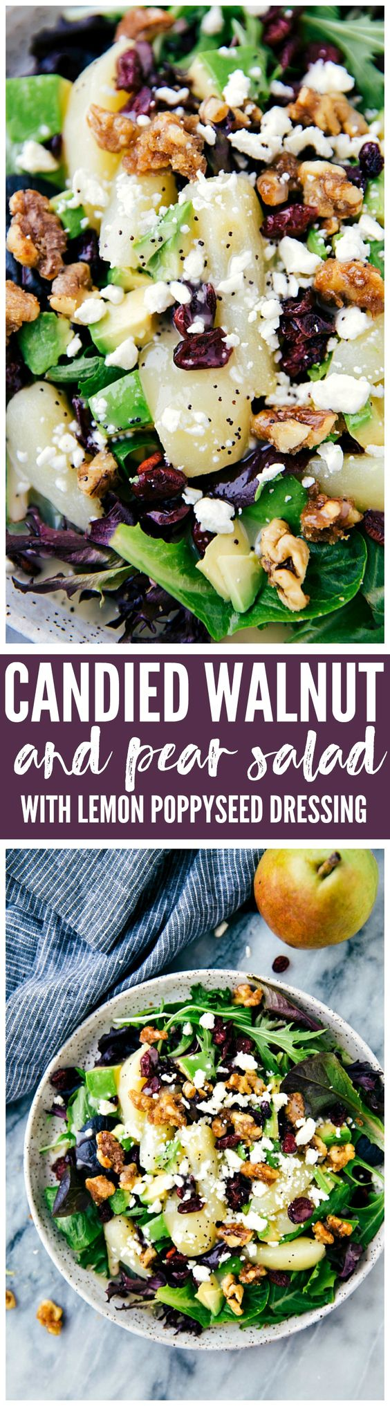 Candied Walnut and Pear Salad with Lemon Poppyseed Dressing Recipe via The Recipe Critic - A delicious and simple to salad with fresh sliced pears, avocado, cranberries and feta cheese. Drizzled with a lemon poppyseed dressing this salad is mouthwatering and full of flavor!: