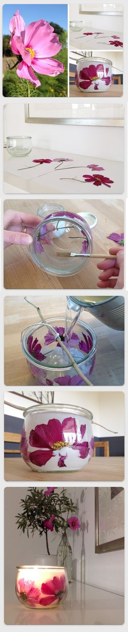 DIY Kerzen selber machen: Blumenkerze im Tulpenglas. Alles was wir hierfür brauchen ist ein geschmackvolles Tulpenglas wie unseres von Weck, einige Blumenblüten aus dem Garten, etwas Kleister, einen Pinsel, einen Docht und jede Menge alte Kerzenstümpfe, die im heißen Wasserbad zu einer neuen Kerzenmasse verschmolzen werden können. Und so geht es: https://flaschen-glaeser-und-dosen.de/blog/kerzen-selber-machen-blumenkerze-im-tulpenglas/
