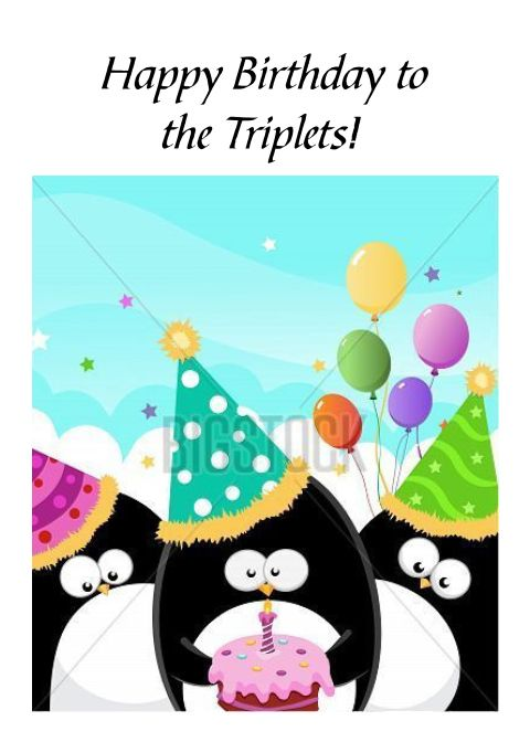 Happy Birthday Triplets Three Penguins With Cake And Party Hats Card Ad Affiliate Triplets Pe Birthday Cards Happy Birthday Cards Cartoon Birthday Cake