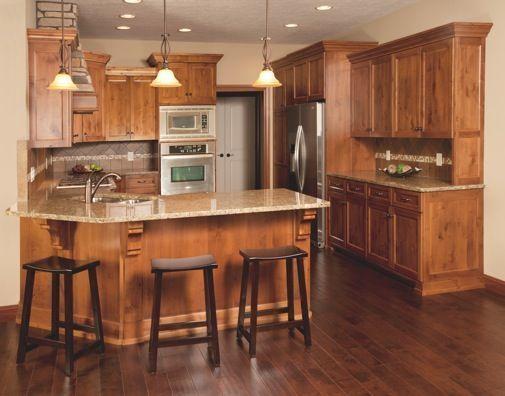 Modern House Designs With Honey Oak Cabinets And Dark Vinyl Floors Yahoo Image Kitchenfloo Custom Kitchen Cabinets Alder Kitchen Cabinets Kitchen Design Small