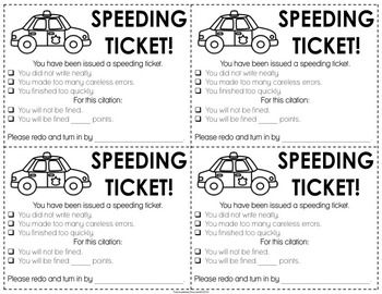 Speeding Ticket! FOR STUDENTS WHO RUSH THROUGH THEIR WORK.