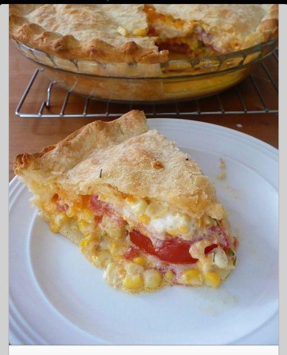 Corn, Tomato, Cheddar Cheese Pie!