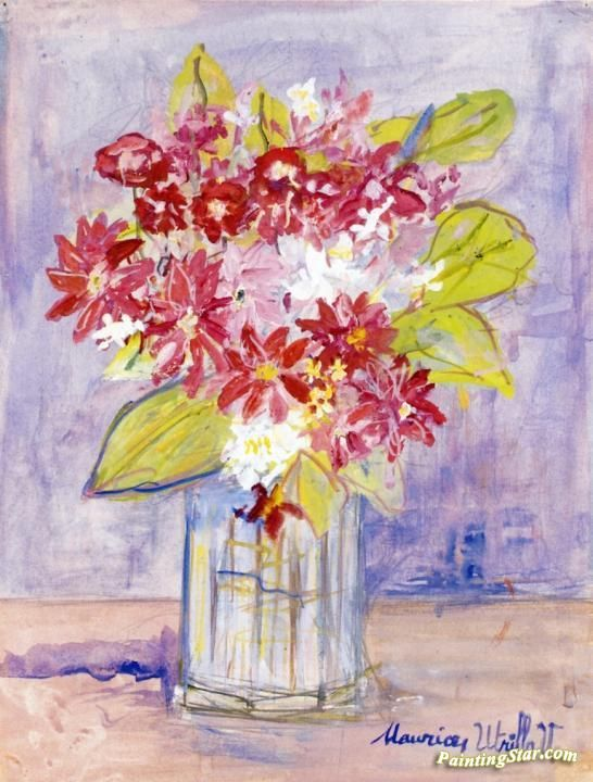 Bouquet of Red and White Flowers in a Vase Artwork by Maurice Utrillo Hand-painted and Art Prints on canvas for sale,you can custom the size and frame