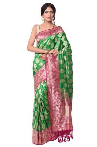 Green and dark pink kadhwa banarasi saree with tarditional border and a rich pallu