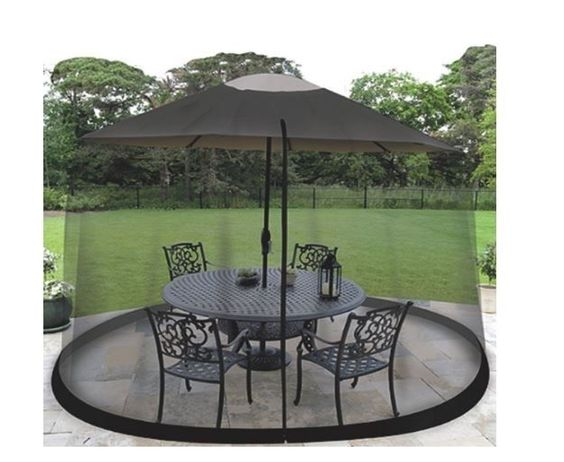 Mosquito Net Cover  9 FT Black Screen Outdoor Patio Umbrella Table Shade