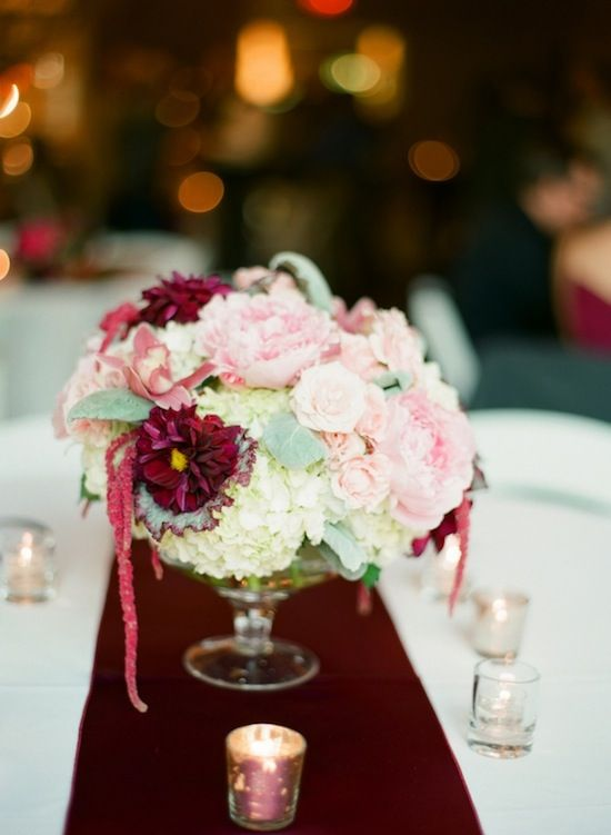 Blush burgundy and cream centerpiece flowers by blue