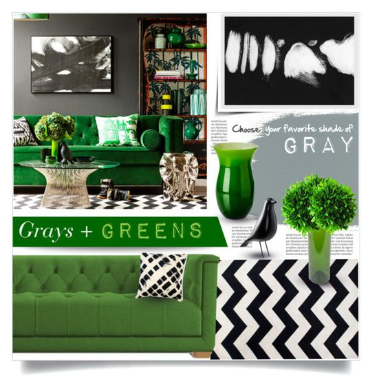 """""""Grays + Greens"""" by tammara-d ❤ liked on Polyvore featuring interior, interiors, interior design, home, home decor, interior decorating, Joybird Furniture, Balmain, Charles and Ray Eames and Eleanor Long"""