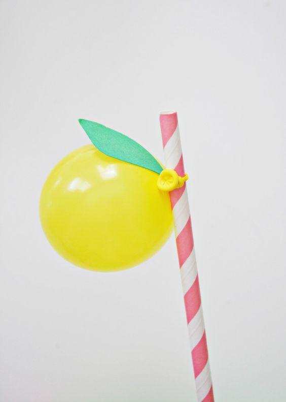 Lemon Balloon Straws @ajoyfulriot