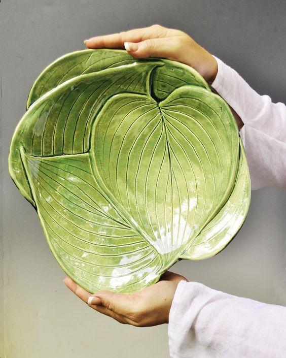 Why did I never think to make it huge!? Salad bowl!! Lee Wolfe Pottery — Hosta Leaf large serving platter handmade stoneware pottery