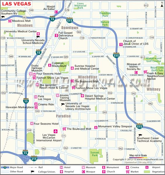LasVegas Map Depicts The Roads Airports Hotels And Tourist - Map of las vegas nv
