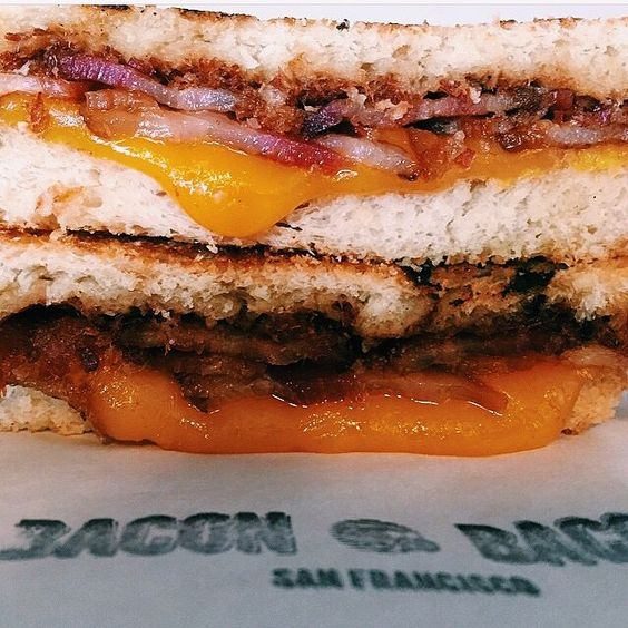 What's the #secret you ask? It's the #bacon jam  #offthegridsouthpark ⌚️ 11am-2pm  @baconbaconsf bacon #grilledcheese