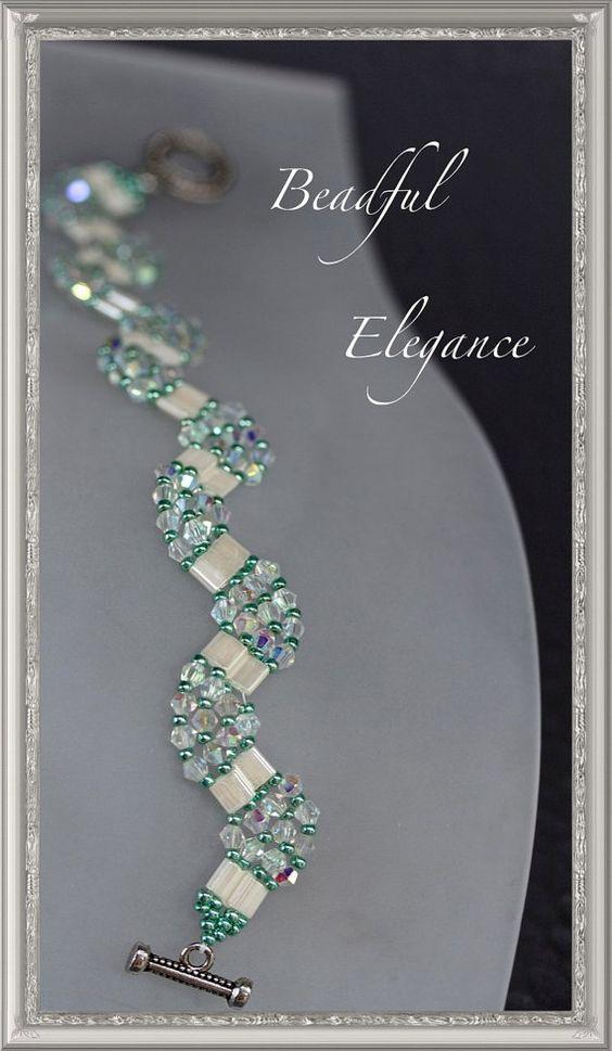 Vague modèle Snake regarde tissé perles Bracelet « Brooke » verre et semences