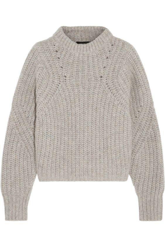 Isabel Marant|Newt oversized mélange ribbed-knit sweater|NET-A-PORTER.COM