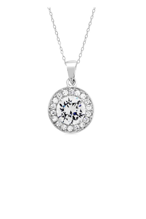 This classic look sterling silver halo necklace is embellished with high quality cubic zirconia stones and comes on an 18 inch chain. The pendant is approximately 0.6 inches tall. Sterling Cz Halo by Sterling. Accessories - Jewelry - Necklaces Florida
