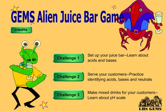 GEMS Alien Juice Bar Game.  Learn about acids and bases, neutrals and ph while creating your own alien juice!