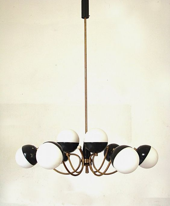 Anonymous; Brass, Eameled Metal and Opaque Glass Ceiling Light by Stilnovo, 1955.