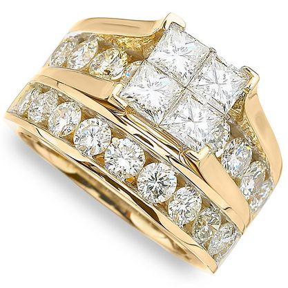 4 ctw Diamond Engagement Bridal Set 14k Yellow Gold