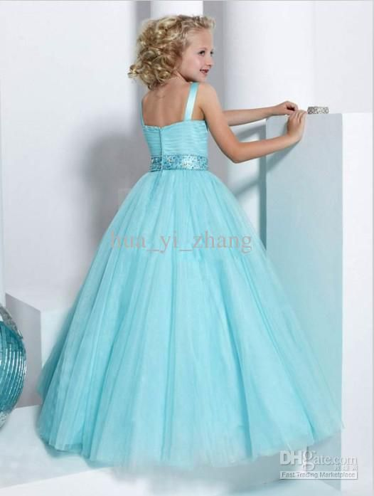 2016 Green Ball Gown Little Girl Pageant Dresses Double Strapped ...