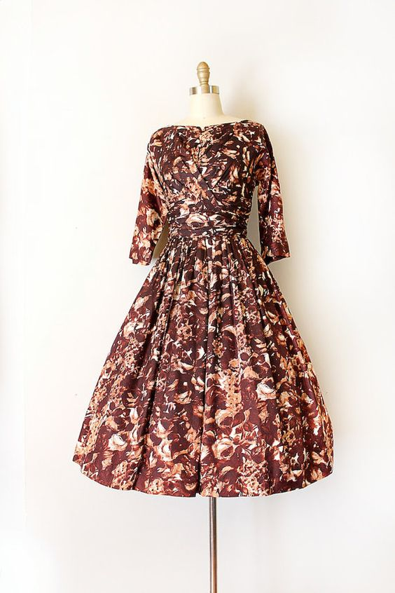 vintage 1950s dress || 50s 60s brown floral evening prom dress