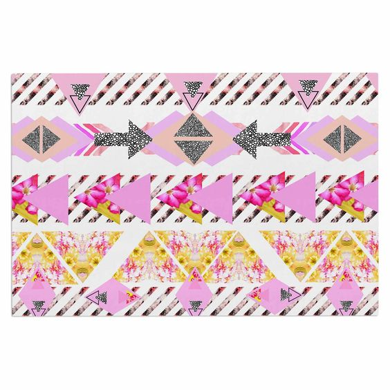 "Danii Pollehn ""Modern Stripes"" Pink Geometric Decorative Door Mat"