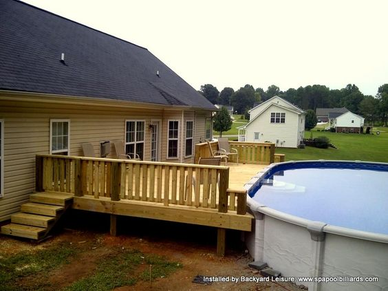 Above Ground Pool Built Into Deck Somebody Has Been