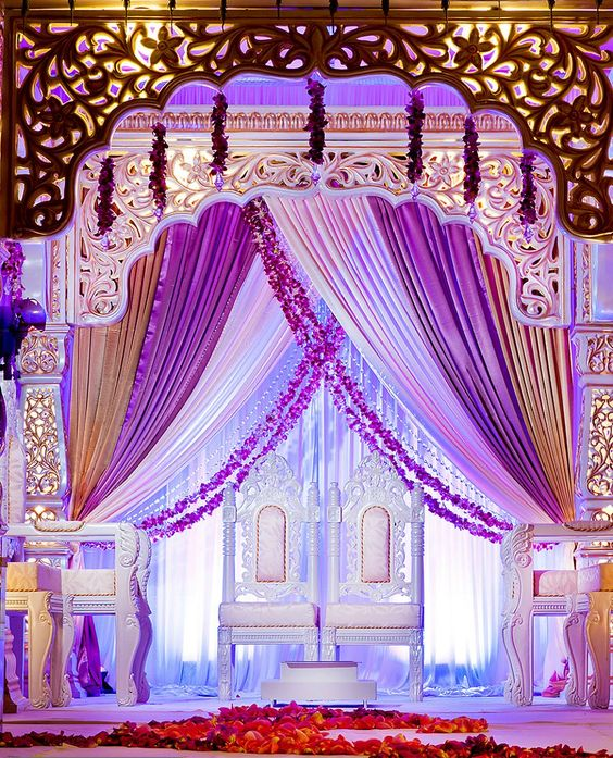 Purple, white, golden and violet decor for an Indian Wedding Mandap | Function Mania | #Trending: How to Use Hues of Ultraviolet for a Chic Wedding Decor!