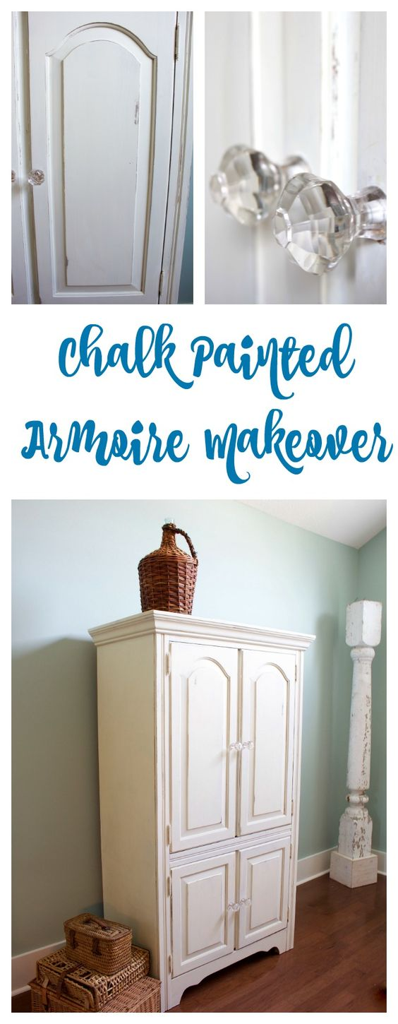 Chalk painted armoire makeover with white homemade chalk paint. Also used glass knobs and distressing.